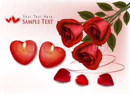 valentines roses s day background roses and two heart candles vector