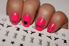 cute pink with hearts and bow nail art