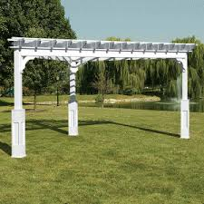 White Vinyl Pergola Kits by Vinyl Triangle Pergolas Traditional Style Vinyl Pergola Kits Www