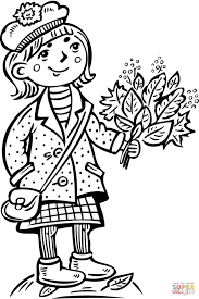 teenage holding a bouquet of leafs coloring page free