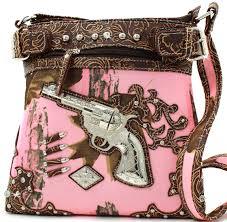 pink brown mossy camo guns bullets cross body messenger style