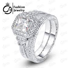 aliexpress buy new arrival hight quality white gold ola high quality white gold halo bridal set cut asscher cubic