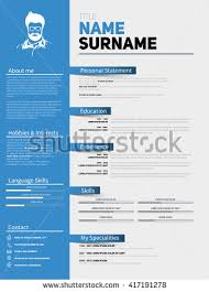 Minimalist Resume Resume Minimalist Cv Resume Template Simple Stock Vector 417191278