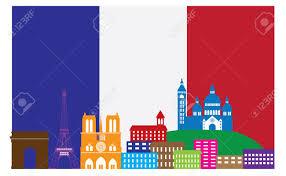 Flag Of Franc Paris France City Skyline Outline Silhouette In Flag Of France