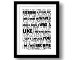 Pink Floyd Lyrics Comfortably Numb Song Lyrics Pink Floyd Wish You Were Here Print A3 Print