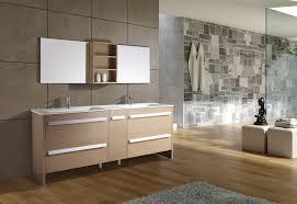Modern Bathroom Vanities And Cabinets Modern Bathroom Vanity Trough White Sink And Light Brown Wall