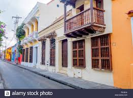 beautiful house facades in the streets of cartagena colombia