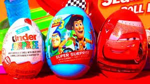 3 toy surprise eggs disney pixar cars toy story the smurfs kinder