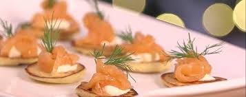 bellini canape potato blinis smoked salmon sour asda living