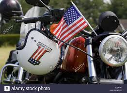 Harley Davidson Flags Stars And Stripes Flag And Helmet On A Harley Davidson Motorcycle