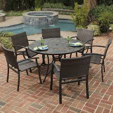 Dining Patio Set - shop home styles stone harbor 7 piece slate patio dining set at