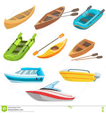 different types of boats colorful set stock vector image 75179725