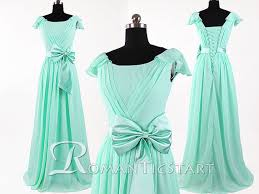 2015 mint blue chiffon long bridesmaid dress with bow capped
