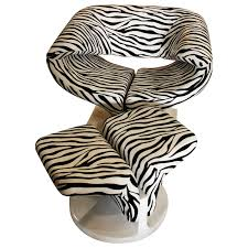 Zebra Chair And Ottoman Vintage Paulin Ribbon Style Chair And Ottoman Footstool
