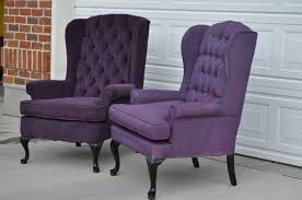 Velvet Wingback Chair Design Ideas Engaging Purple Wingback Chair Furniture Home Improvement Ideas