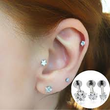 earring top of ear fashion jewelry ear stud zircon prong set top internally