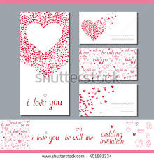 wedding invitation symbols templates heart made small ones phrase stock vector 401691334