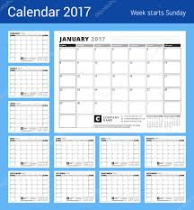 calendar planner for 2017 year week starts sunday black and