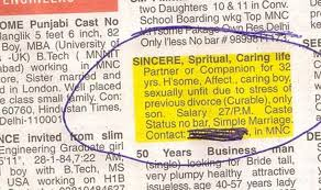 Seeking Ad This S Newspaper Ad Seeking A For His 48 Year