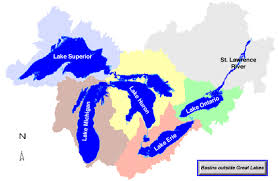 canadian map with great lakes great lakes watershed