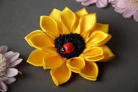 sunflower ribbon madeheart hair accessory craft supply satin ribbon kanzashi