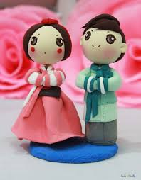 asian hand ring holder images Wedding cake topper hanbok korean traditional wedding clay doll jpg