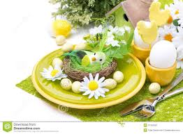 Easter Table Decorations by Festive Easter Table Setting With Decorations Flowers Stock Image
