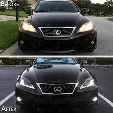 white lexus is 250 06 13 lexus is250 is350 smoke drl light bar projector headlights
