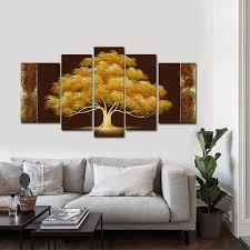 amazon com wieco art golden tree large 5 panel modern flowers
