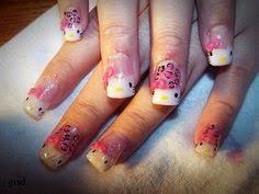 white acrylic nails 3d bows with hello kitty nail art nails