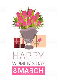 s day card boxes happy women day greeting card with gift boxes and bouquet of