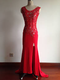2016 fashion prom dresses red prom dress slit formal gown red prom