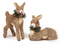 premier rustic straw reindeer 25cm and 18cm christmas decoration