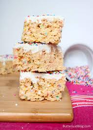 white chocolate cake batter rice krispie treats butterlust