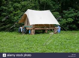 Wooden Tent by Tent Raised On Wooden Platform To Avoid Floodwater Stock Photo