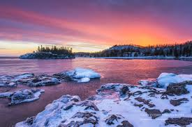 great lakes photography sunset colors lake superior winter