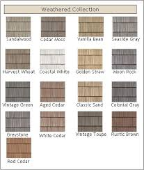 weathered vinyl shakes in straw color is our choice for the lower