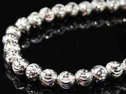 white gold bead necklace images 10k mens white gold moon cut beaded chain franco bead handcut jpg