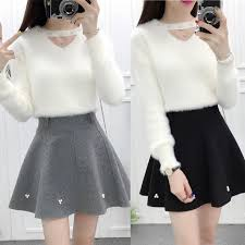 sweater skirt sweater skirt two fashion kawaii