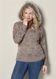 fur sweater plus size faux fur trim sweater in taupe multi venus