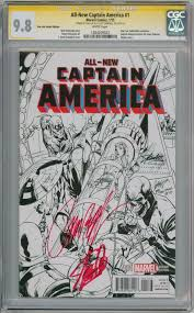 all new captain america 1 sketch variant cgc 9 8 signature series