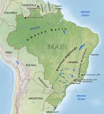 South America Map Labeled by Brazil Physical Map