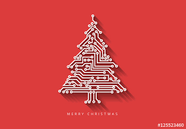 computer chip tree illustration on colored backgrounds