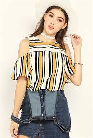open shoulder blouse striped open shoulder blouse shop blouse shirts at papaya clothing