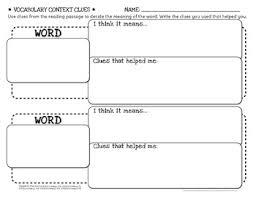 free vocabulary organizer using context clues grades 2 5 by