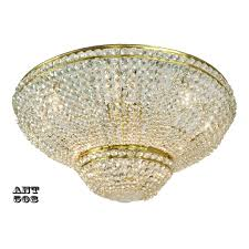 Crystal Flush Mount Lighting Crystal Semi Flush Mount Ceiling Light Large Diameter Vintage