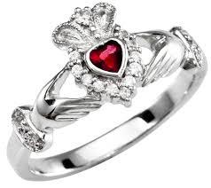 clatter ring garnet diamond silver claddagh ring january birthstone