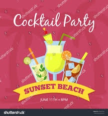 party background illustration different cocktails set stock vector