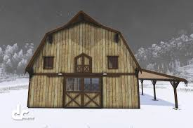 this gambrel post and beam barn kit has 2 lean to u0027s and a hay hood