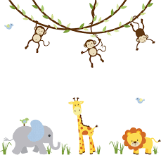 jungle animal wall decal monkey vine decal jungle decal